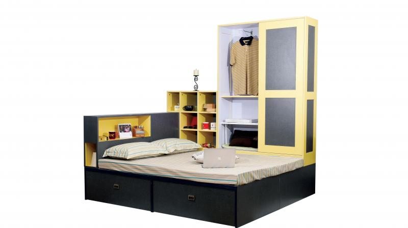 This king-size bed doubles into a wardrobe and also a  storage for all your knick-knacks!