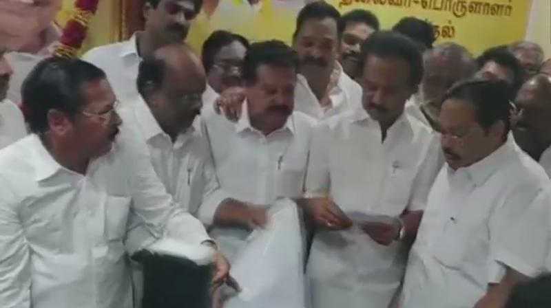 The process to elect Stalin as DMK chief following the death of his father and party chief M Karunanidhi began with the 65-year-old leader formally filing his nomination for the post. (Photo: ANI   Twitter)