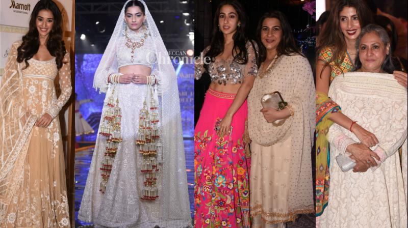 Sonam Kapoor walked the ramp at a fashion show by designers Sandeep Khosla and Abu Jani, which was attened by several celebrities on Friday. (Photo: Viral Bhayani)