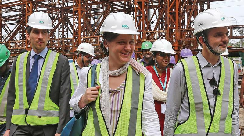Three-member delegation of the French funding agency AFD during their review of the  Kochi Metro project on Tuesday. (Photo: DC)