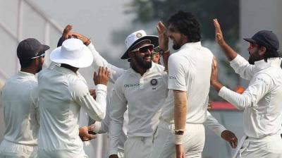 Ishant Sharma celebrates the wicket of Sadeera Samarawickrama with his teammates.(Photo: BCCI)