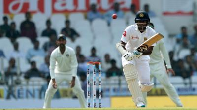 Dimuth Karunaratne plays a shot during the second Test against India on Friday.(Photo: BCCI)