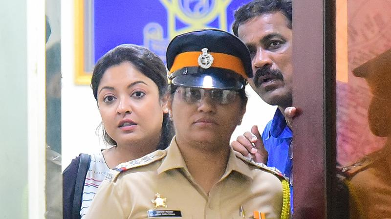 Tanushree Dutta at Oshiwara police station in Mumbai. (Photo Courtesy: Mrugesh Bandiwadekar)
