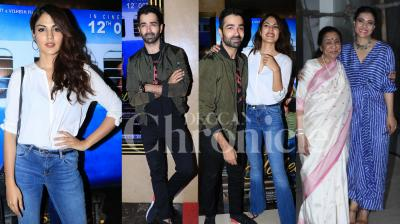 Kajol was clicked with Asha Bhosale at the special screening her film Helicopter Eela and Rhea Chakraborty, Varun Mitra and the makers were all happy at Jalebi special show. Both films will be competing at box-office this Friday. Checkout latest photos here. (Photos: Viral Bhayani)