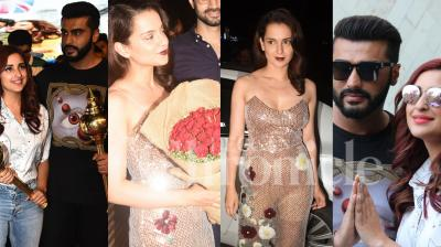 Kangana Ranaut and team celebrated at the wrap up party of period film Manikarnika: The Queen of Jhansi at a restaurant in Mumbai. Namaste England jodi Arjun Kapoor and Parineeti Chopra greeted the fans at Ramlila Maidan, Delhi. Check out the exclusive pictures right here. (Photos by Viral Bhayani)