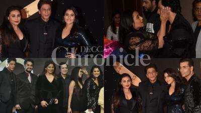 It's been 20 years since Bollywood's evergreen 'Kuch Kuch Hota Hai' released on October 16 and marking the occasion, filmmaker Karan Johar along with the lead trio of Shah Rukh Khan, Kajol and Rani Mukerji hosted a celebratory party attended by the who's who of Bollywood. Check out the excluisve pictures from the event. (Pictures: Viral Bhayani)