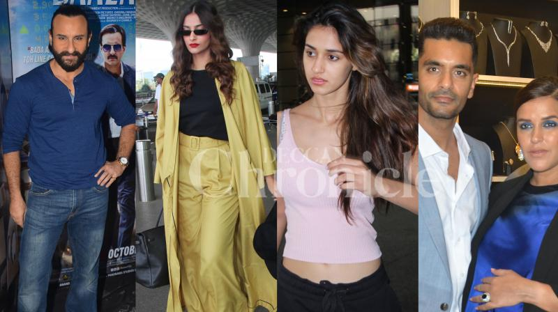 Bollywood celebs Saif Ali Khan, Neha Dhupia and husband Angad Bedi, Sonam Kapoor, Disha Patani and others were spotted in the city. Check out exclusive photos of Bollywood stars here. (Pictures: Viral Bhayani)