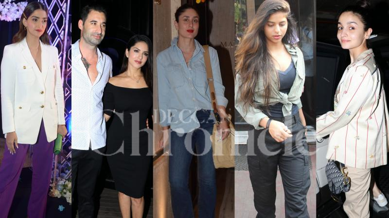 Bollywood star Sonam Kapoor was spotted at the book launch, Kareena Kapoor Khan was spotted with BFF Amrita Arora and Karan Johar at fashion designer Manish Malhotra's residence and Alia Bhatt, Suhana Khan, Harshvardhan Rane with GF Kim Sharma and others were spotted in the city. Check out exclusive photos here. (Pictures: Viral Bhayani)