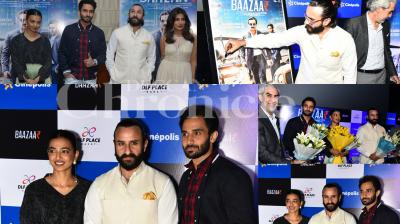 Saif Ali Khan along with Radhika Apte, debutant Rohan Mehra, Chitrangada Singh came together in Delhi for the promotions of their upcoming flick, Baazaar. Check out pictures here. (Photos: Viral Bhayani)