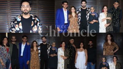 The entire cast and crew of Bollywood film Badhaai Ho celebrated the success of their box office hit. The party which was held at a pub in Mumbai suburb was also attended by other Bollywood celebs. Check out the pictures here. (Photos: Viral Bhayani)