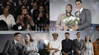 The lead star cast of '2.0', Rajinikanth and Akshay Kumar, Amy Jackson, director Shankar, music director AR Rahman and others were present at the grand trailer launch event in Chennai. Check out the exclusive photos from the event. (Pictures: Viral Bhayani)
