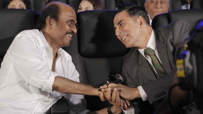 Rajinikanth and Akshay Kumar at '2.0' trailer launch in Chennai. (Photo credit: Viral Bhayani)