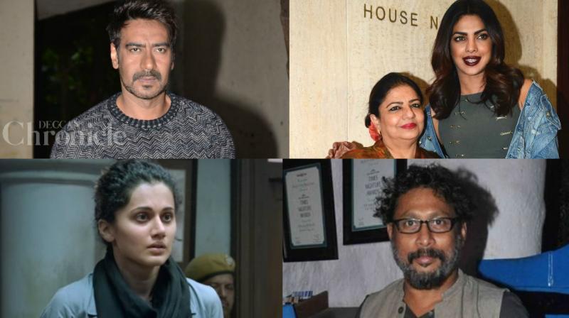 Ajay Devgn, Madhu Chopra with daughter Priyanka Chopra, Tapsee Pannu and Shoojit Sircar.