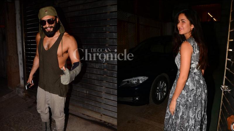 Ranveer Singh and Katrina Kaif snapped outside Zoya Akhtar's residence last night.