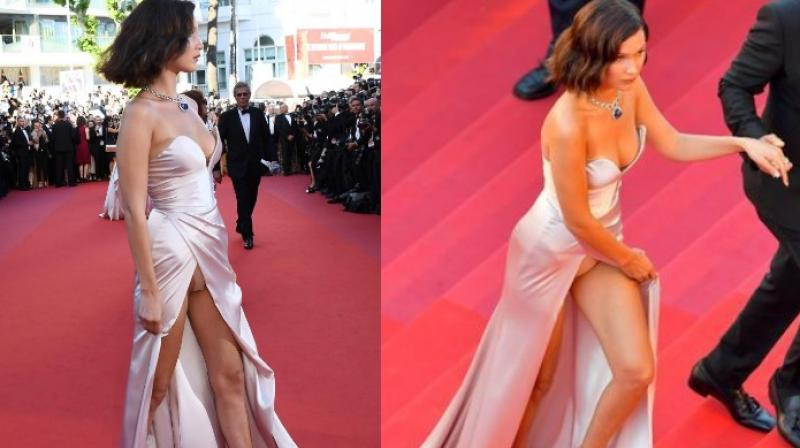 Bella Hadid's wardrobe malfunction at the 70th edition of Cannes Film Festival.(Pics: AFP)