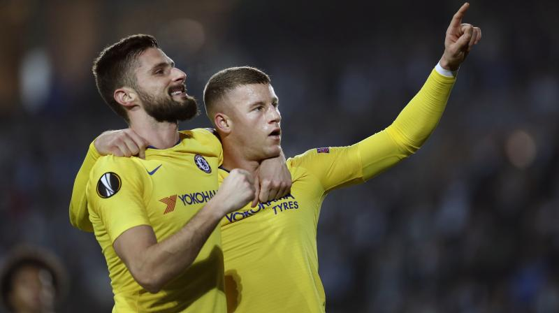 Ross Barkley took advantage of a defensive lapse by the home team to put Chelsea ahead on the half-hour mark, with Olivier Giroud adding a 58th-minute second before Malmo's late goal gave them a glimmer of hope ahead of next week's return match at Stamford Bridge. (Photo: AP)
