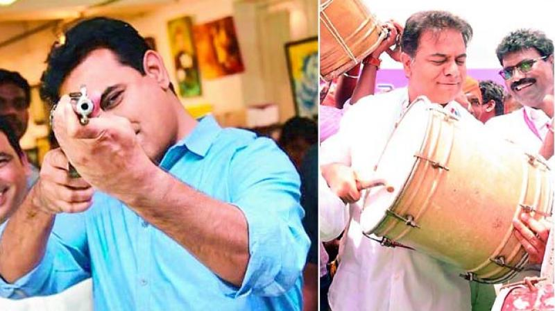 After the victory of the TRS in Telangana, these photos of K.T. Rama Rao were trending on social media.