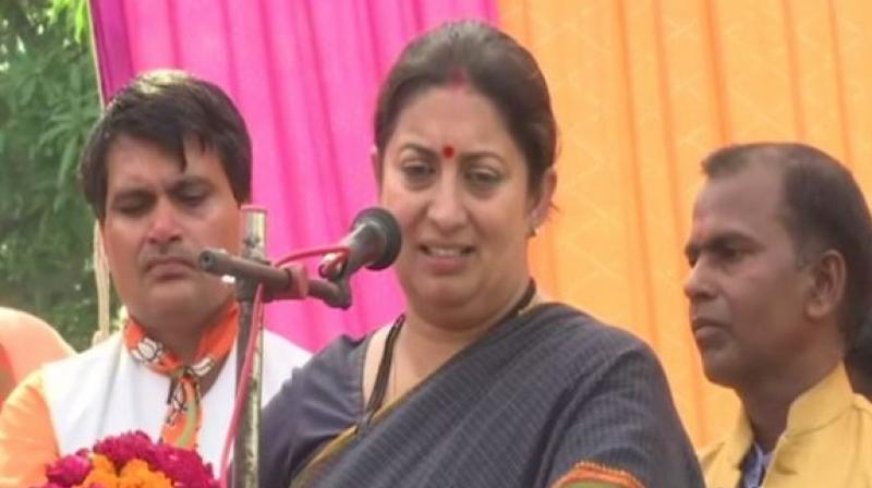 Smriti Irani also mentioned several other schemes launched by the BJP led NDA government. (Photo: ANI twitter)