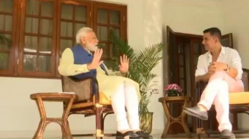 The Congress's jibe at Modi came after channels aired the Prime Minister's interview with the Bollywood star.  (Photo: ANI twitter)