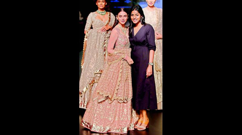 a glitzy affair: Actress Aditi Rao Hydari as the show stopper with designer Jayanti Reddy.