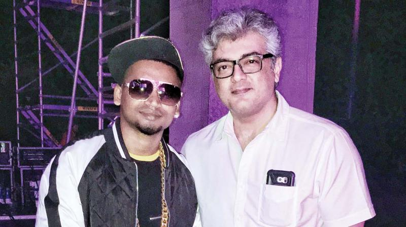 Joslee with actor Ajith