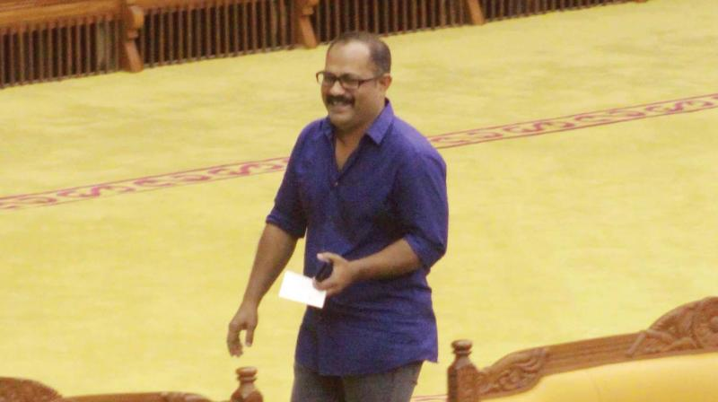 IUML MLA K.M. Shaji arrives to attend Assembly session on Wednesday