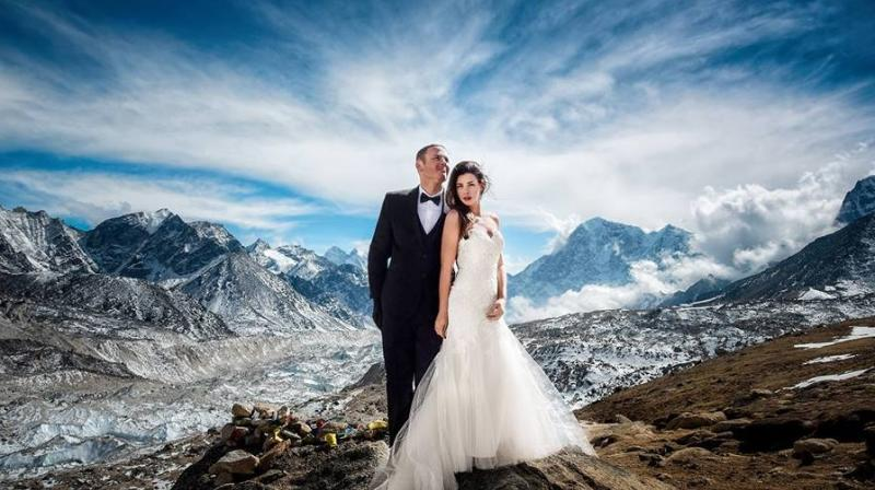 The 30-something couple trekked through harsh conditions to reach the base camp 17,000 ft above sea level for over three weeks. (Photo: Facebook/CharletonChurchill)