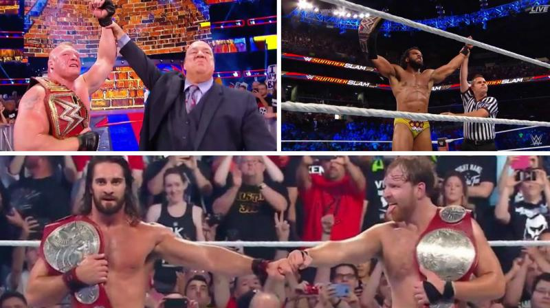 Wwe summerslam 2017 results brock lesnar seth rollins dean while brock lesnar and jindar mahal retained their title seth rollins and deam ambrose were m4hsunfo