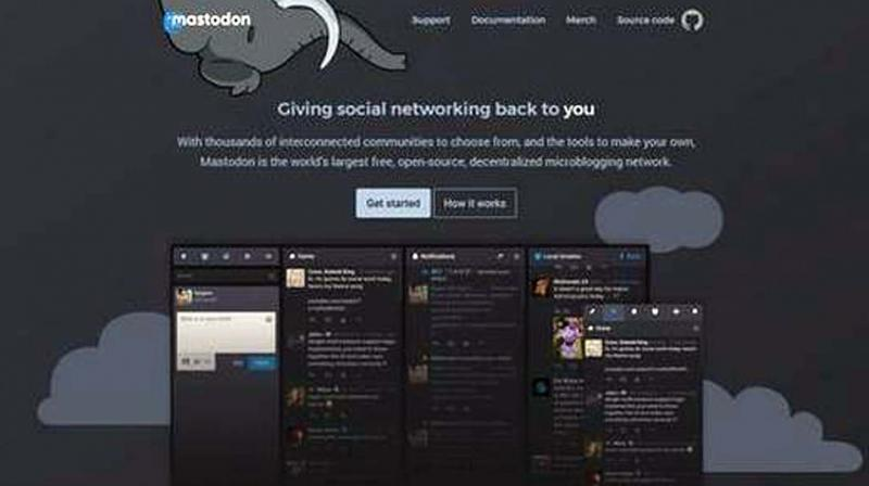 A screen shot from the home page of the Mastodon website