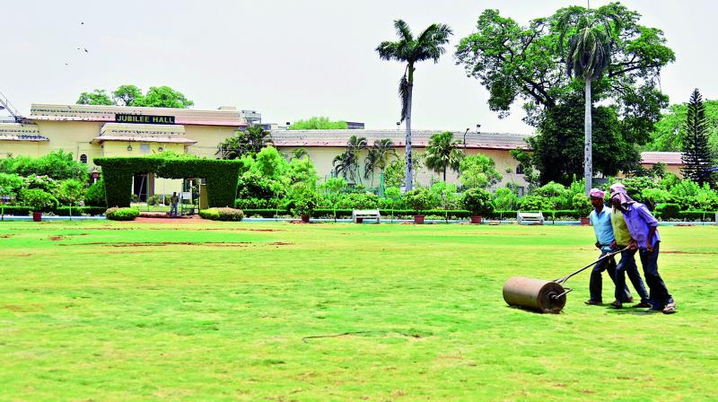 The picture of the lawn was clicked after the decades-old fountain was razed for TS day celebrations on June 2.