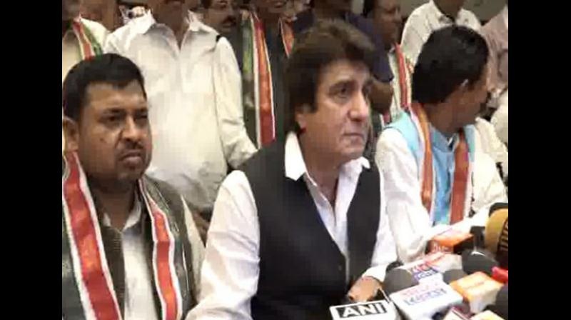 Raj Babbar, who contested from Fatehpur Sikri ,lost by a margin of over 4,95,065 votes to BJP's Rajkymar Chahar. (Photo: ANI)
