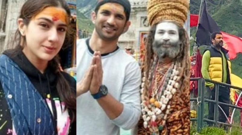 Sushant Singh Rajput and Sara Ali Khan visited the Kedarnath temple as they geared to shoot their upcoming film centered set around the holy area. (Photos: Twitter)