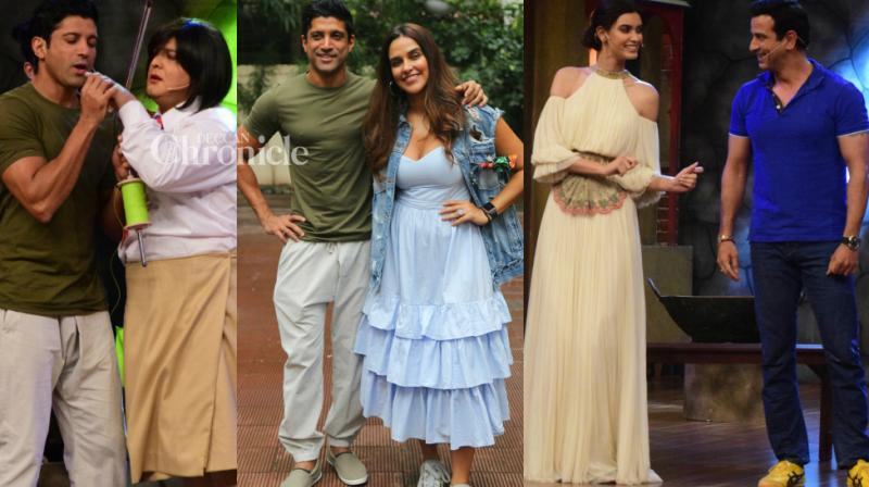 Farhan Akhtar was snapped as he shot for two shows on Wednesday, 'No Filter Neha' with Neha Dhupia and 'The Drama Company' with Diana Penty and others in Mumbai. (Photo: Viral Bhayani)