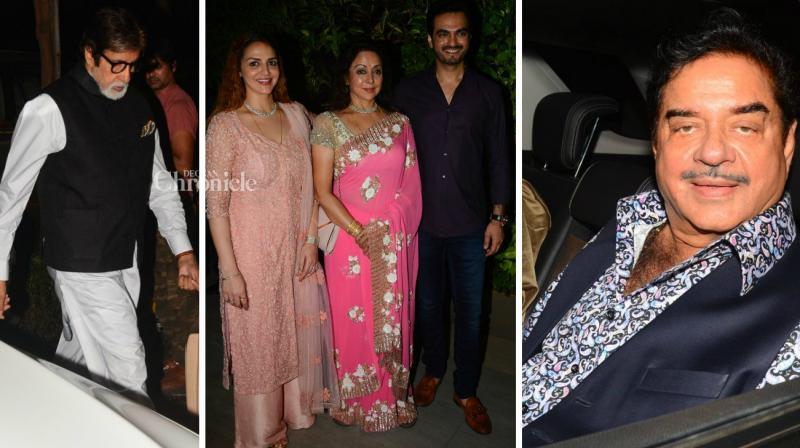 Amitabh Bachchan, Shatrughan Sinha, Ramesh Sippy and other stars came out for Hema Malini's birthday bash in Mumbai late Sunday. (Photo: Viral Bhayani)