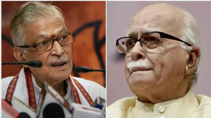 Senior BJP leaders Murali Manohar Joshi and LK Advani. (File photos)