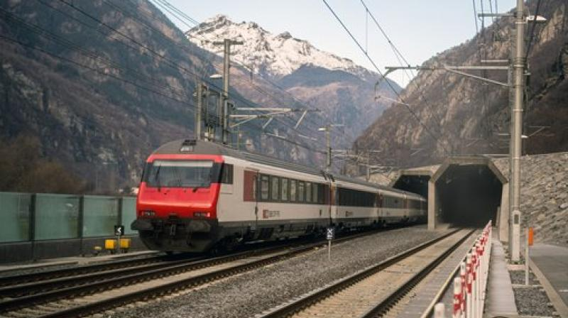 A passenger train enters the south portal of the Gotthard rail tunnel between Erstfeld and Pollegio, in Pollegio. (Photo: AP)