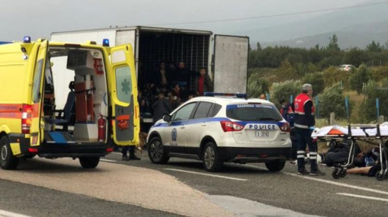Police stopped the truck on a highway near the northern Greek city of Xanthi for a regular check. They arrested the driver and took him and the migrants to a nearby police station for identification. (Photo: Twitter)