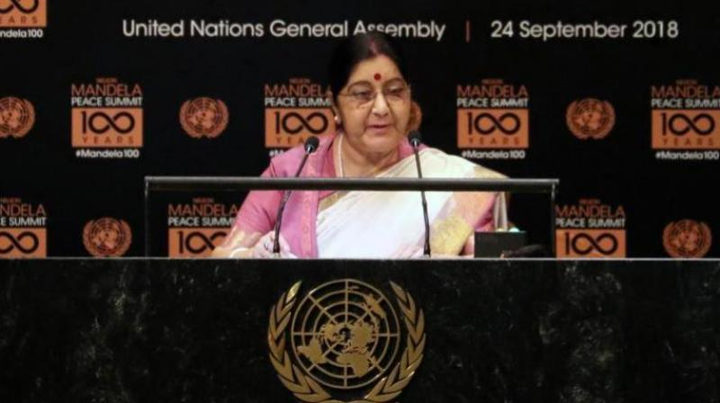 Swaraj attended the high-level event on counter-narcotics hosted by US President Donald Trump and addressed the Nelson Mandela Peace Summit. (Photo: Twitter | @MEAIndia)