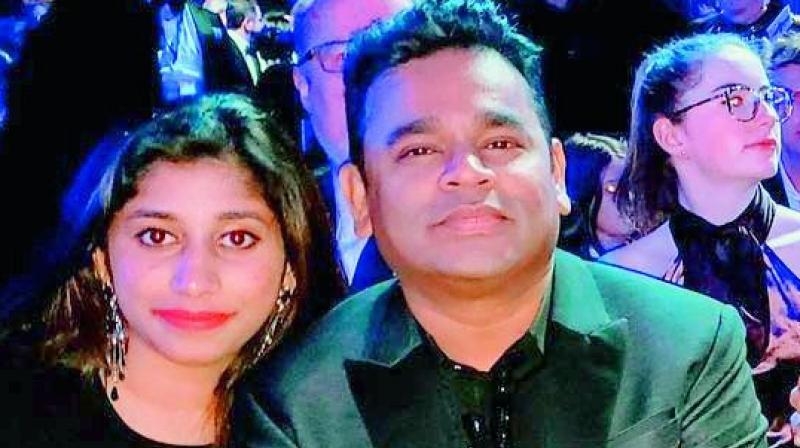 A. R. Rahman with daughter Raheema at the Grammy Awards.
