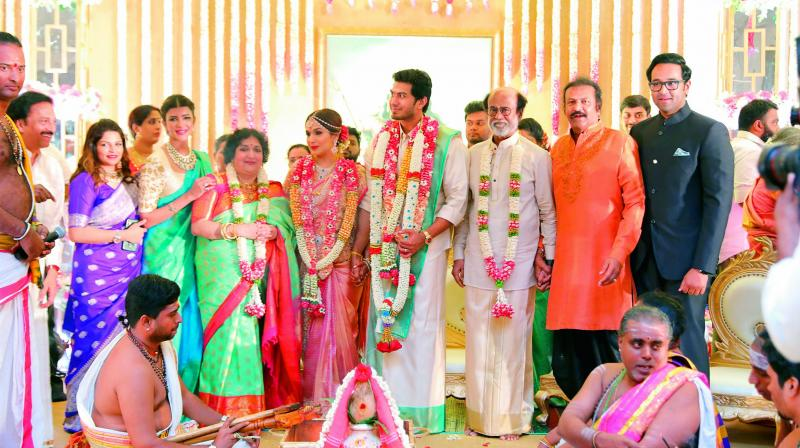 Mohan Babu with his family members — Viranica, Lakshmi and Vishnu with the newly-weds.