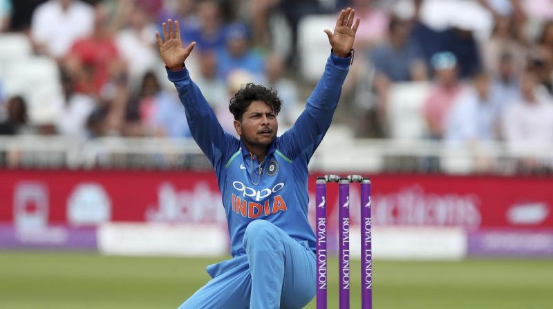 Indian spinner Kuldeep Yadav has been rewarded with big jump in the International Cricket Council (ICC) Men's T20I ranking for playing a key role in his side's convincing victory over West Indies in the recently concluded limited-format series, which they won 3-0. (Photo: AP)