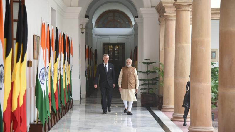 Prime Minister Narendra Modi met Belgium's King Philippe in Hyderabad House on Tuesday. (Photo: Twitter/Narendra Modi)