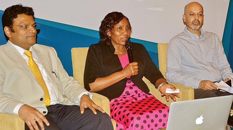 Margaret Wanjiru addressing a press conference with Dr Basavaraj C. M. and others at Ritz Carlton, in Bengaluru on Thursday (Photo: DC)