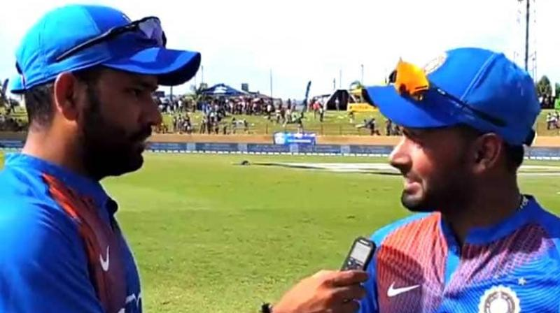 After the third T20I got over, benched player Rohit Sharma took an interview of Rishabh Pant on BCCI.TV. (Photo: video/BCCI/screengrab)