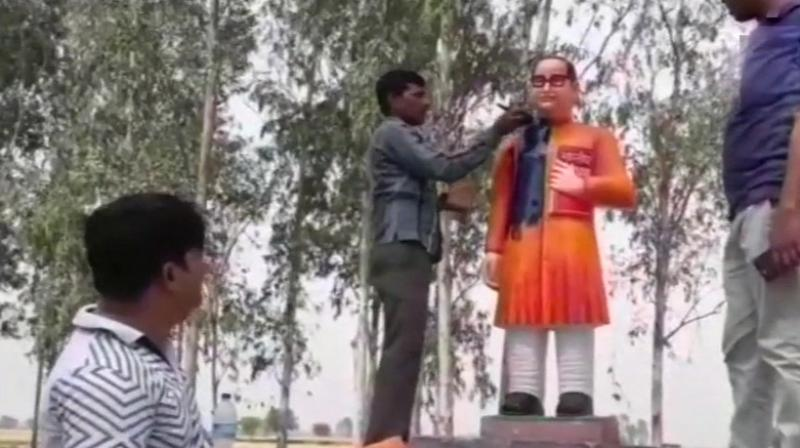 Uttar Pradesh: Vandalised statue of Ambedkar rebuilt, painted in saffron