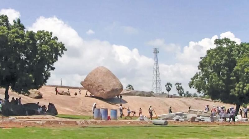 In wake of high-level Modi-Xi meet,  two private  cellphone towers near Krishna's butterball relocated to restore the aesthetic look of Mahabalipuram.(Photo: DC)