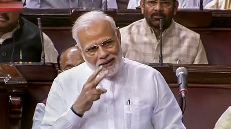 PM Modi's comments came during the felicitation of the newly-elected Rajya Sabha Deputy Chairman Harivansh in the House. (Photo: PTI)