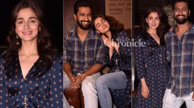 'Raazi' duo Alia Bhatt and Vicky Kaushal kept on with the promotions of their film as it opened to rave reviews and good collections. (Photo: Viral Bhayani)