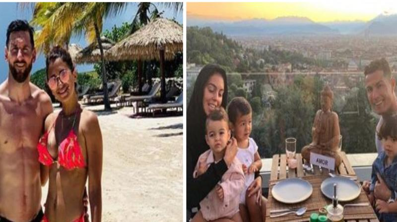 Messi was having a gala time with wife Antonella Roccuzzo and his three kids.  While, Cristiano Ronaldo has arrived in Juventus and was spotted with his partner Georgina Rodríguez and his children. (Photo: Instagram)