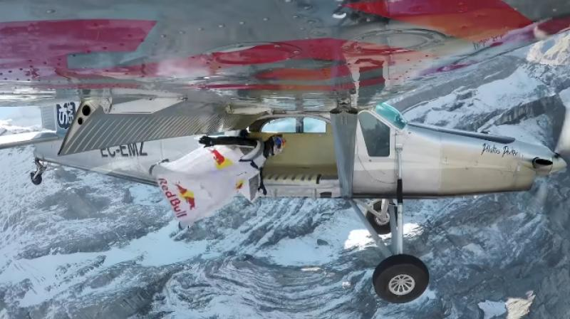 The video footage shows French wingsuit fliers Fred Fugen and Vince Reffet leaping off Switzerland's Jungfrau mountain. (Photo: Screengrab/RedBull)